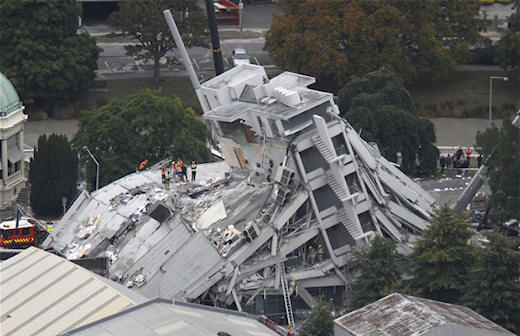 Collapsed Pyne Gould Guiness building in Christchirch NZ