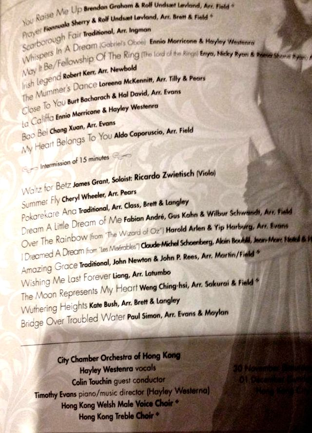 Hayley Westenra concert Hong Kong 30 November 2013: song list from the programme